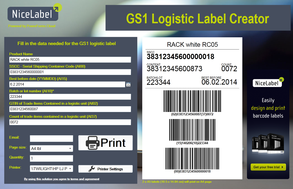 Print free GS1 labels