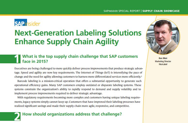 SAPinsider: Next Generation Labeling Solutions Enhance Supply Chain Agilityes