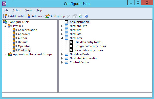 NiceLabel Control Center Pro utilizes a centralized database repository with built-in role based access.