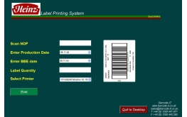 Food industry label printing simple form