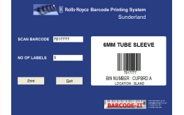 Aerospace barcode label printing application