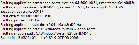 Windows Spooler fails to start with the faulting module name
