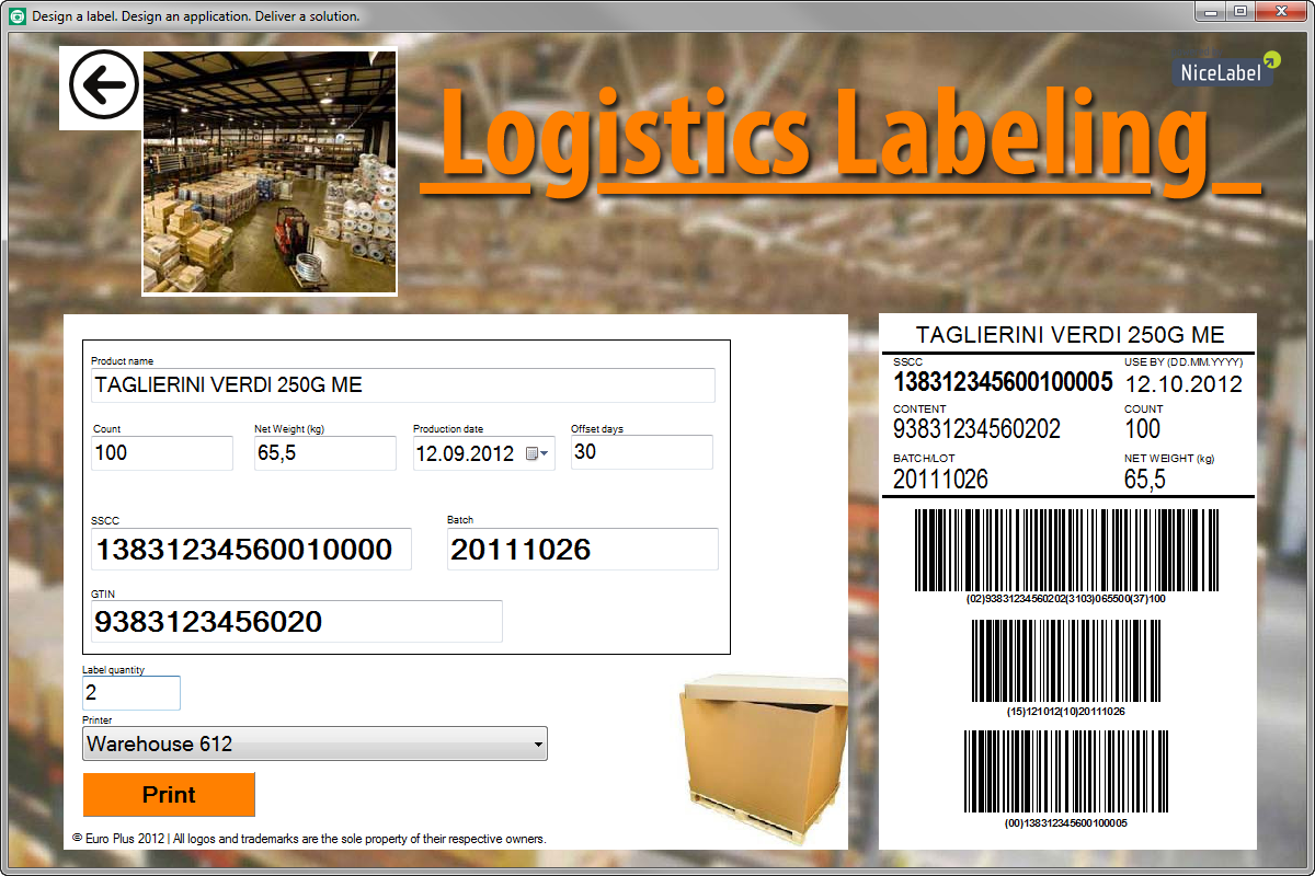 logistic label printing